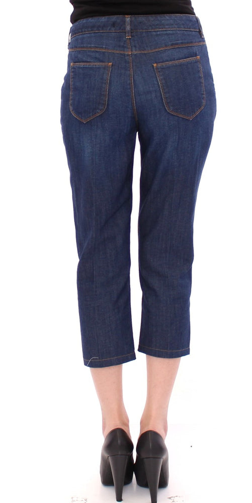 Blue Cotton Cropped Regular Fit Jeans