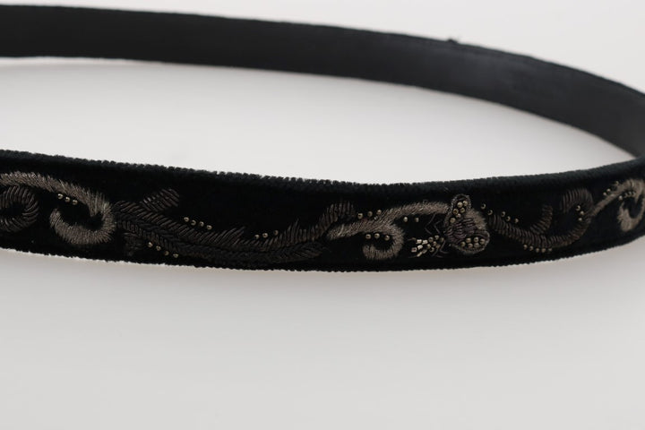 Black Cotton Royal Bee Embroidery Belt