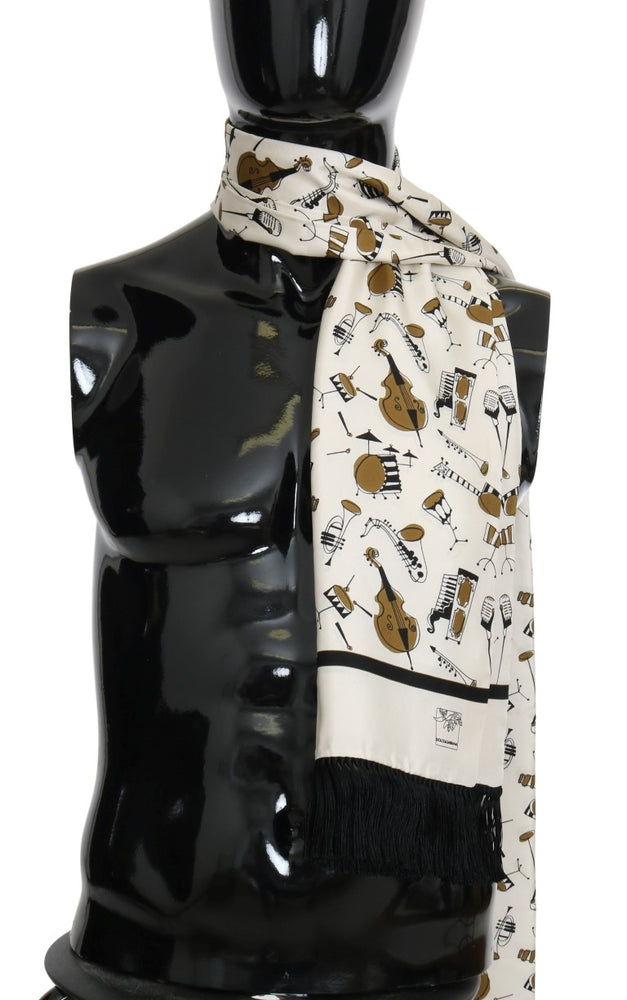 Beige Silk Gold Music Print Scarf