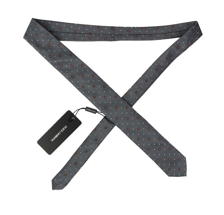Gray Silk Patterned Classic Tie