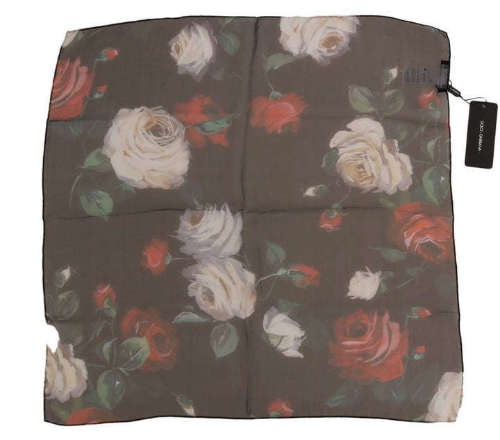 Multicolor Roses Floral Silk Scarf