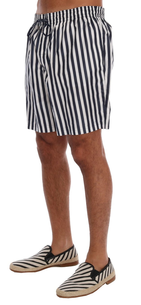 Blue White Striped Beachwear Shorts