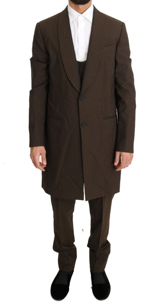 Brown Wool Stretch Long 3 Piece Suit