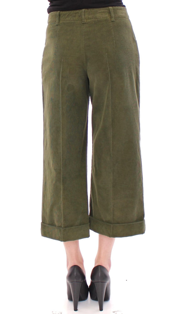 Green Cotton Corduroys Cropped Jeans Pants