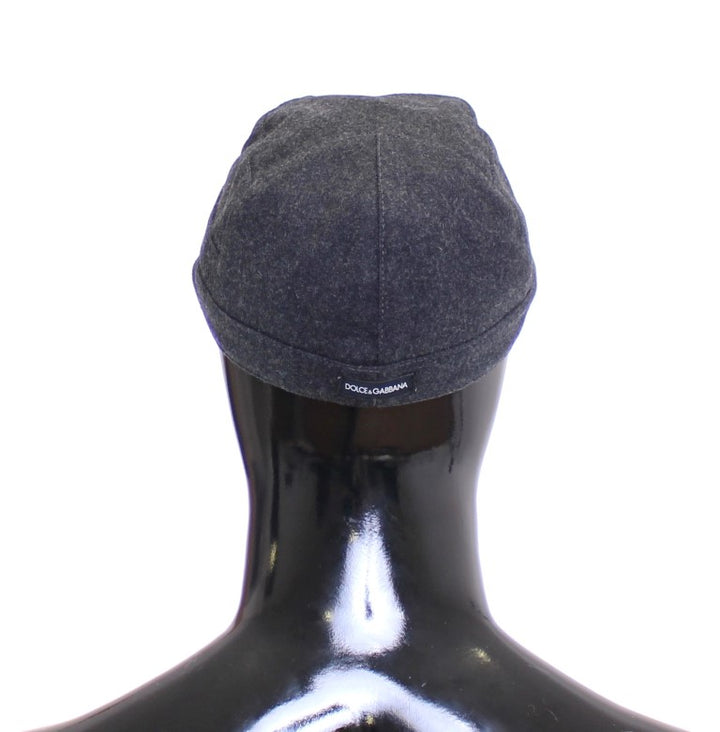 Gray Virgin Wool Logo Cap Hat