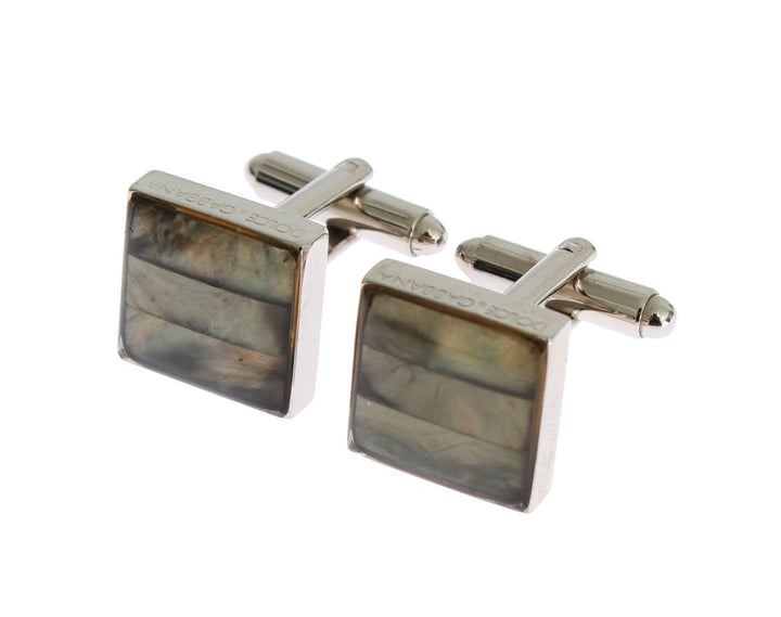 Silver Brass Square Green Stone Cufflinks