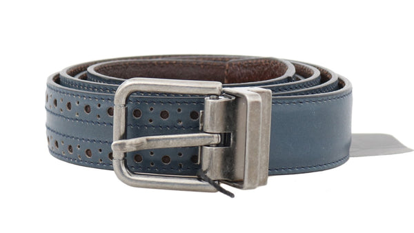 Blue Perforated Leather Gray Buckle Belt