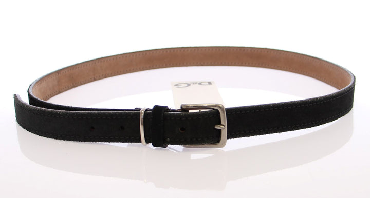 Blue Suede Leather Logo Belt