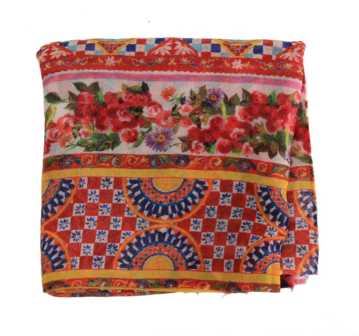 Multicolor Carretto Floral Silk Scarf