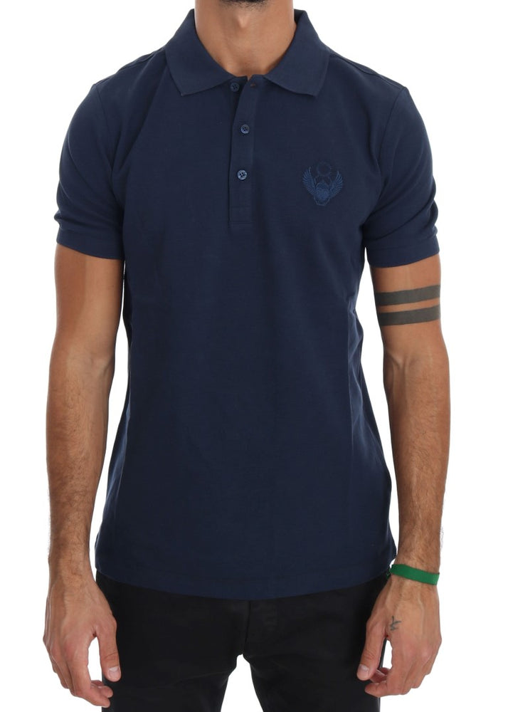 Blue Cotton Stretch Polo T-shirt