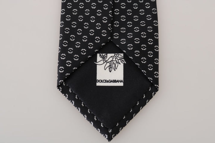 Black Silk White Wide Tie