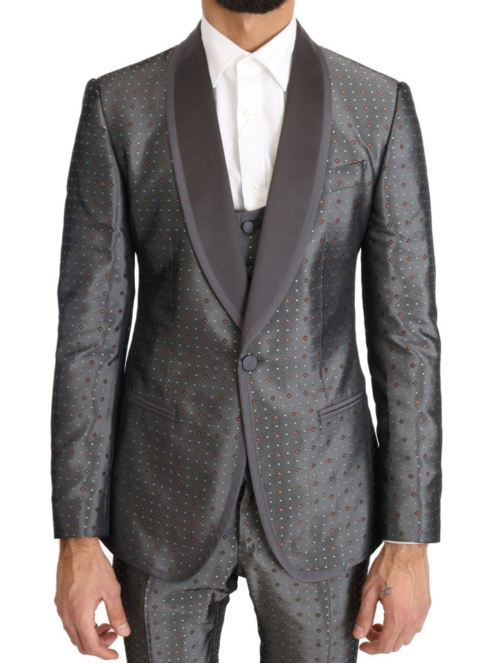 Silver Silk Baroque Single Breasted Suit