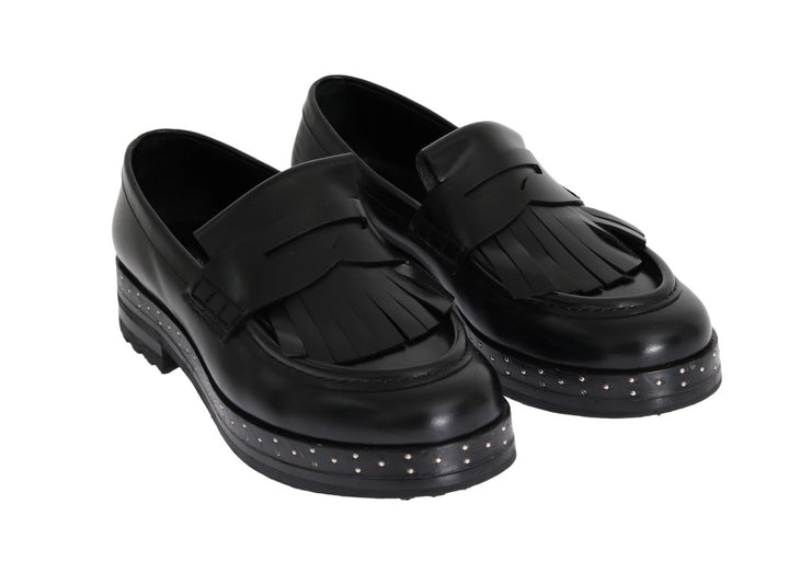 Black Leather Platform Loafers
