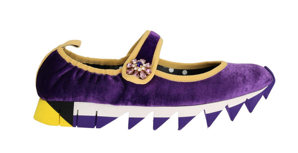 Purple Velvet Crystal Strap Ballerina Shoes
