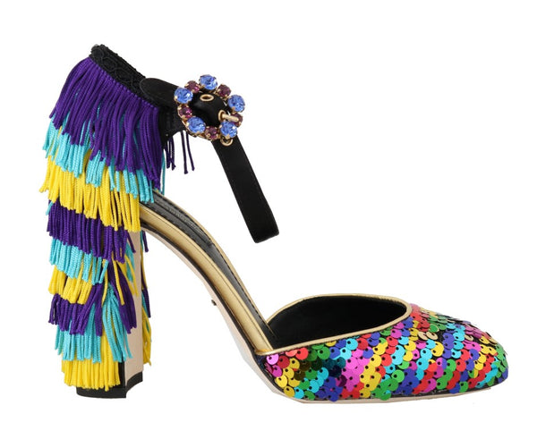 Multicolor Sequined Crystal Sandals