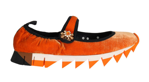 Orange Velvet Crystal Strap Ballerina Shoes