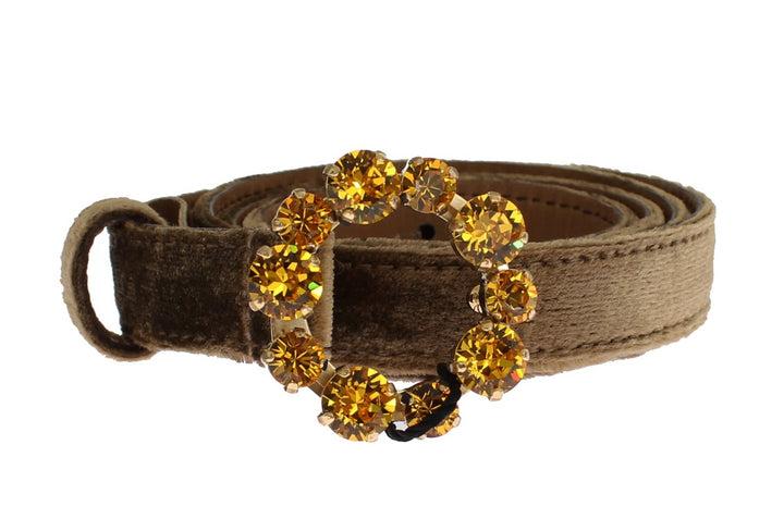 Brown Velvet Leather Crystal Buckle Belt