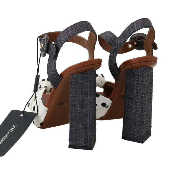 Gray Straw Ankle Strap Sandals