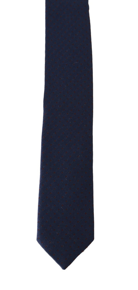 Blue Silk Red Dotted Pattern Slim Tie