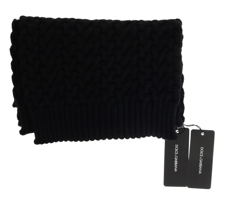 Black Wool Knitted Scarf