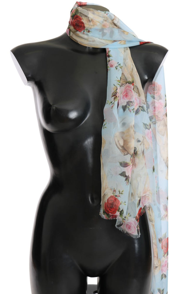Blue Roses Floral Print Scarf