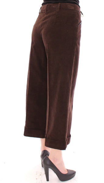 Brown Cotton Cropped Corduroys Jeans Pants