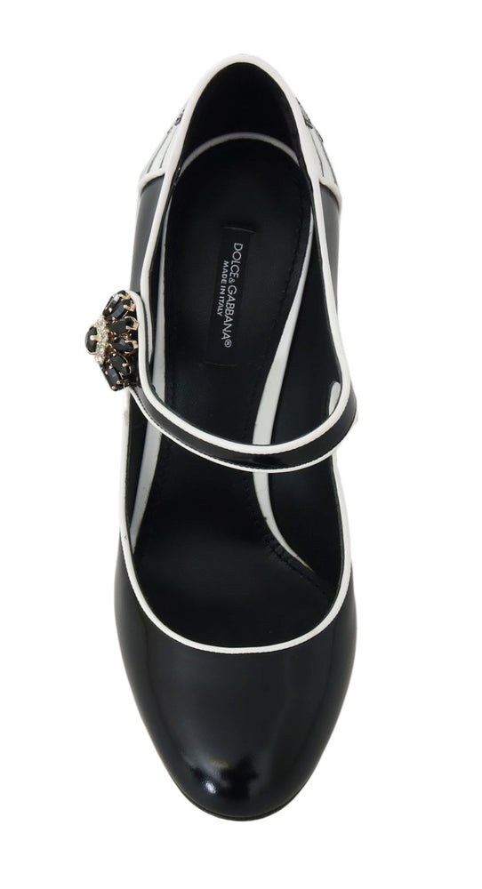 Black White Leather Mary Janes Crystals Pumps