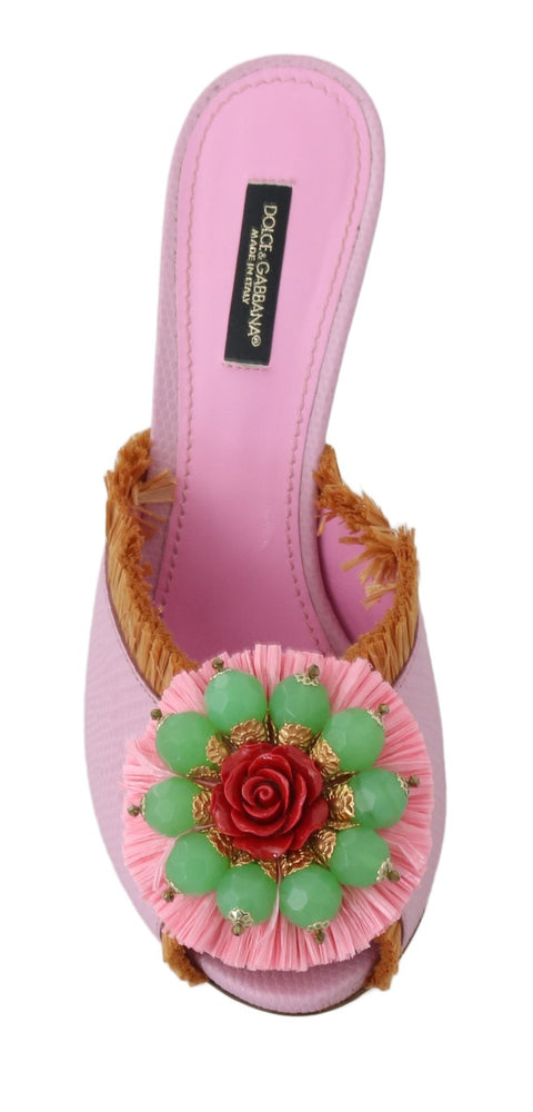 Pink Leather Slides Crystals Sandals