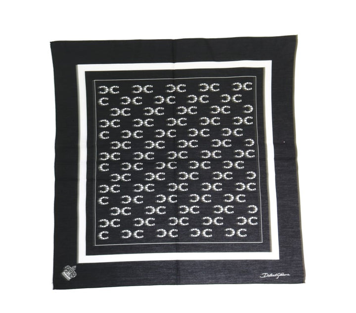 Black Cotton Sicilian Western Pattern Scarf