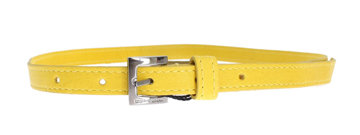 Yellow Leather Silver Buckle Logo Belt