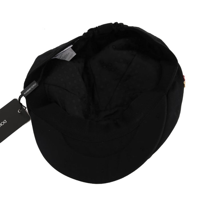 Black Hand-Stitched Angel Newsboy Cap