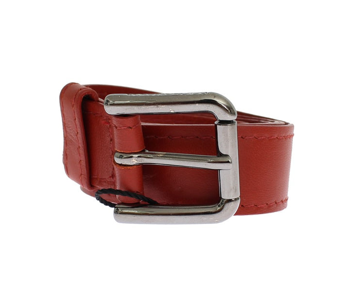 Red Leather Silver Buckle Logo Belt