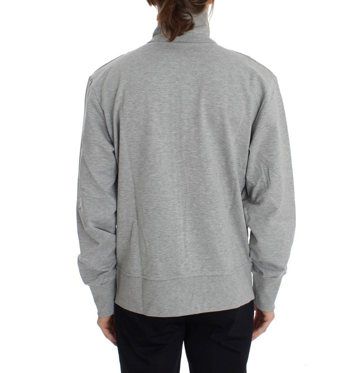 Gray Cotton Stretch Full Zipper Sweater