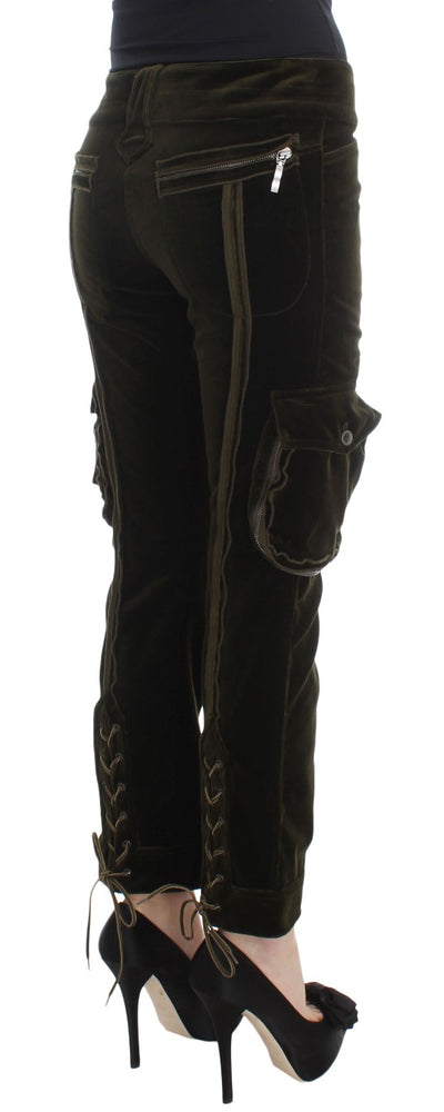 Green Cotton Velvet Slim Fit Cargo Pants