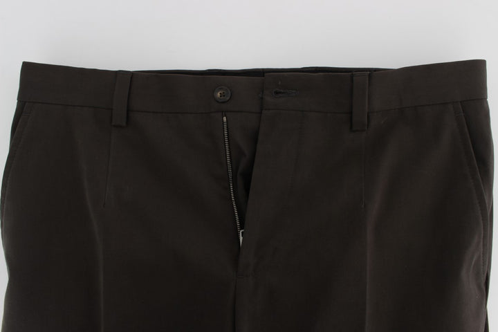 Brown Cotton Slim Fit Casual Pants