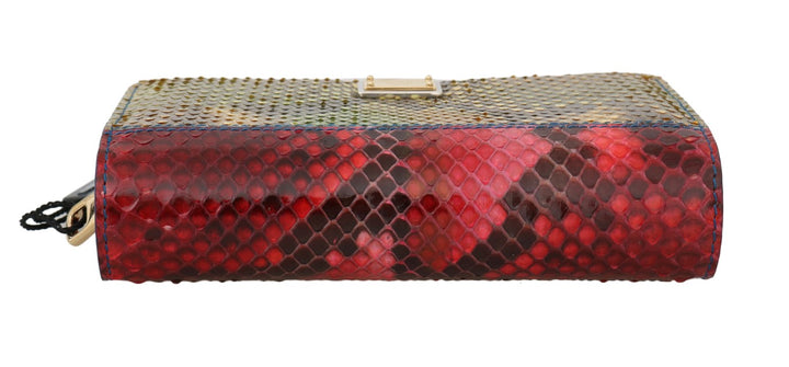 Red Yellow Alligator Python Snakeskin Leather Wallet