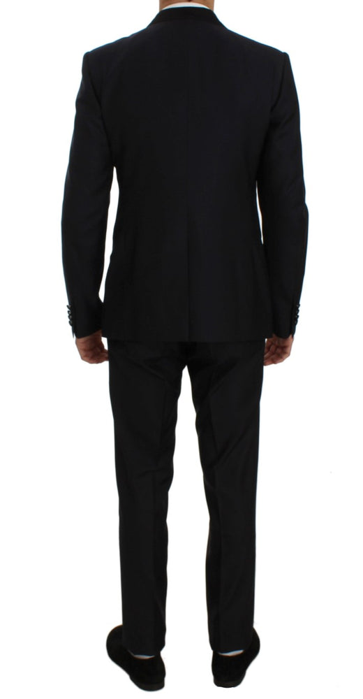 Blue Silk Wool Slim Fit 3 Piece Suit