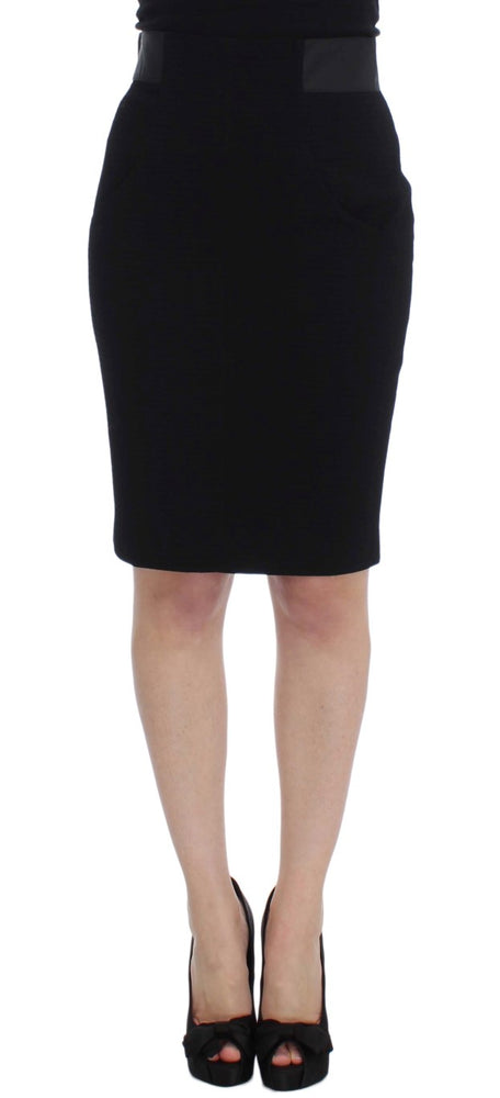 Black Wool Straight Pencil Skirt
