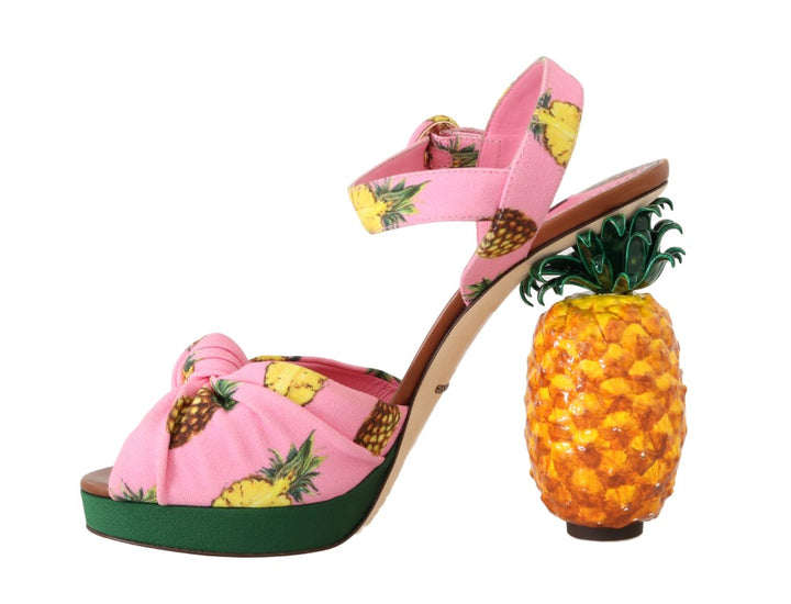 Multicolor Pineapple Print Heel Sandals