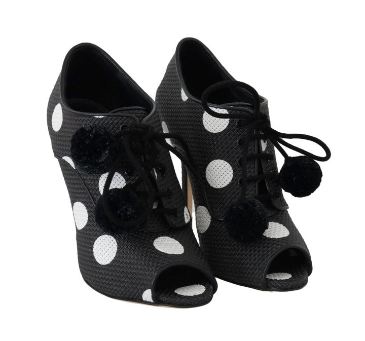 Black Polka Dot Peep Toe Booties