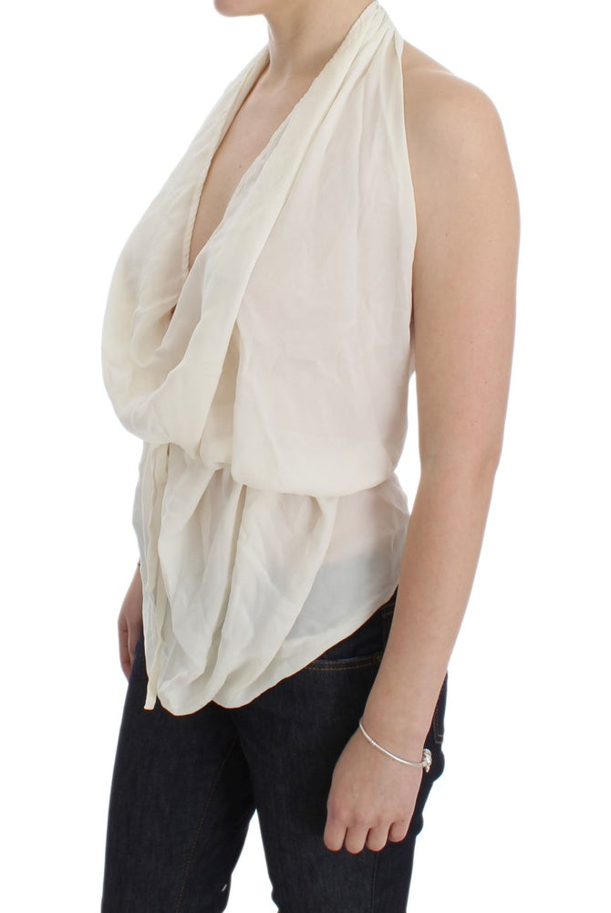 White Silk Sleeveless Blouse