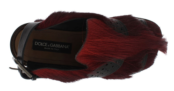 Bordeaux Gazella Fur Leather Sandal Shoes