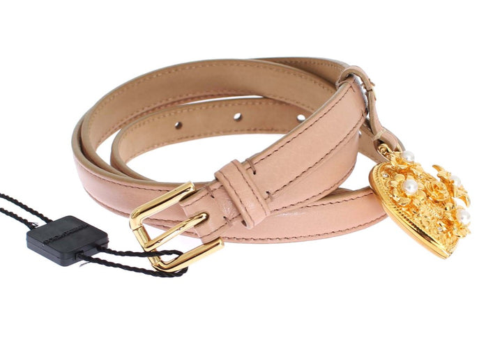 Pink Leather Gold Crystal Heart Pendant Belt