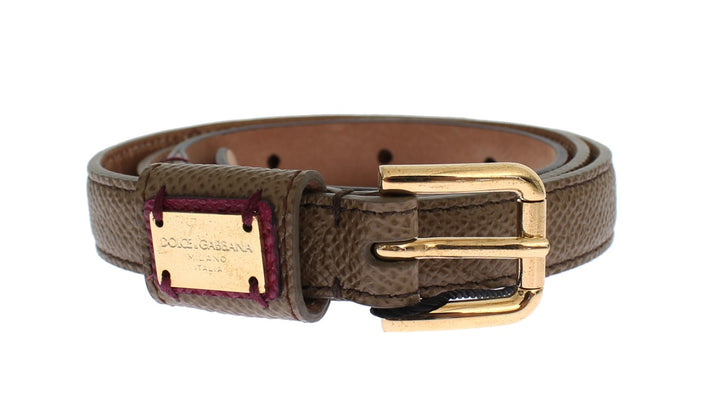Green Leather Gold Buckle Logo Waist Belt