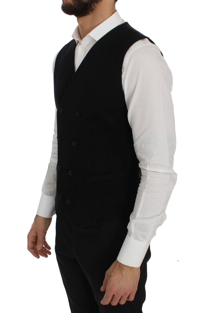 Black Cotton Stretch Dress Vest