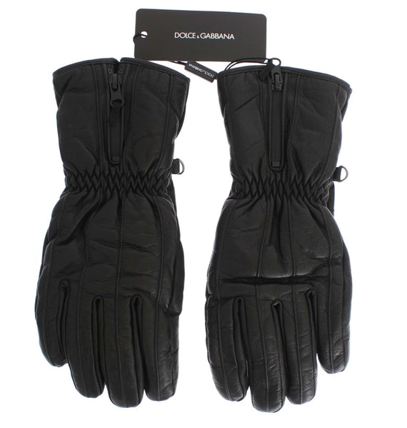 Black Leather Padded Winter Gloves