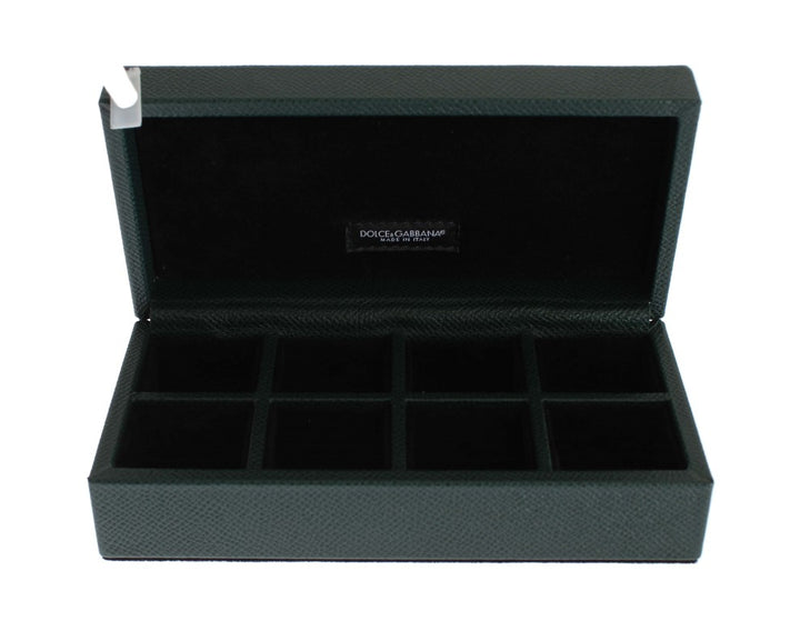 Green Leather Ring Cufflinks Organizer Box