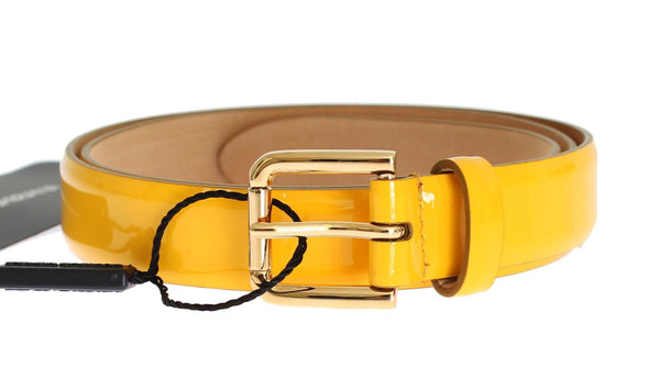 Yellow Patent Leather Gold Buckle Belt