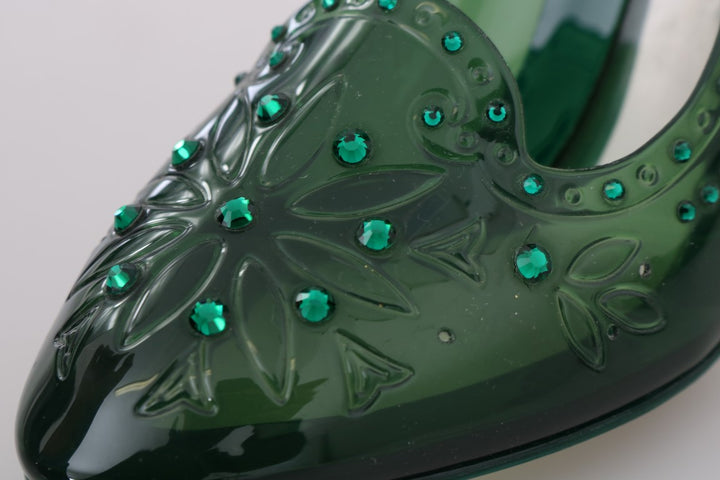 Green CINDERELLA Crystal Shoes