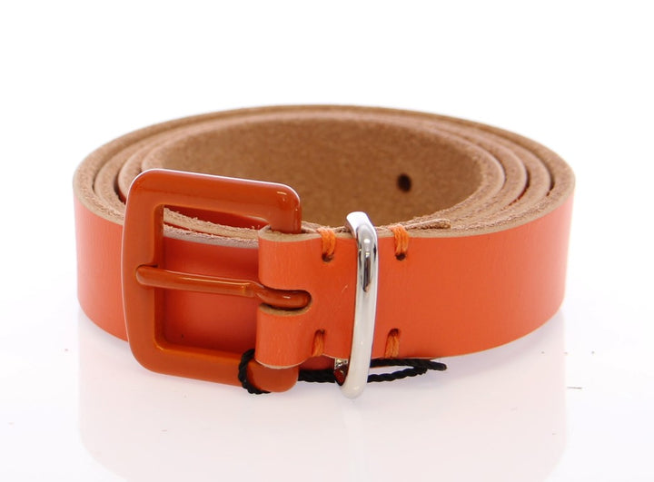 Orange Leather Logo Belt